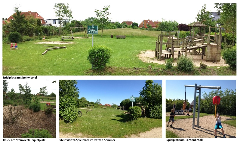 Collage der Spielplätze in Dänischenhagen (Fotos: Simone Fichtner-Kaul)